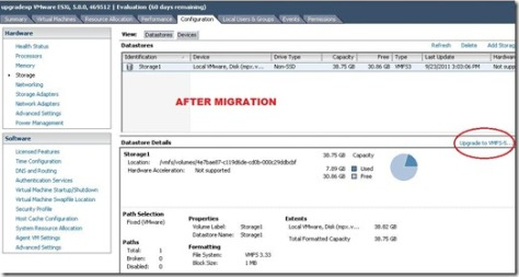 VMFS3 partition needs to be upgraded to VMFS5.0