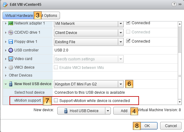 Add a USB Controller to a Virtual Machine in the vSphere Web