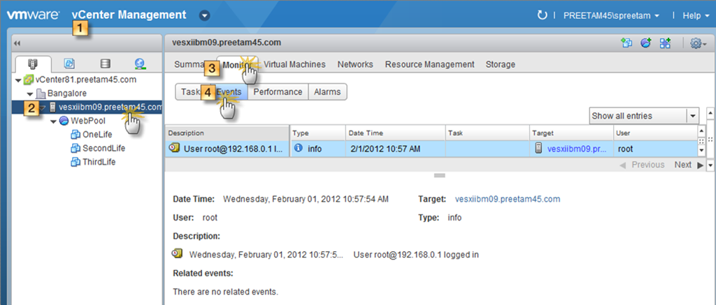 View & Export events from vSphere Web Client – VMware