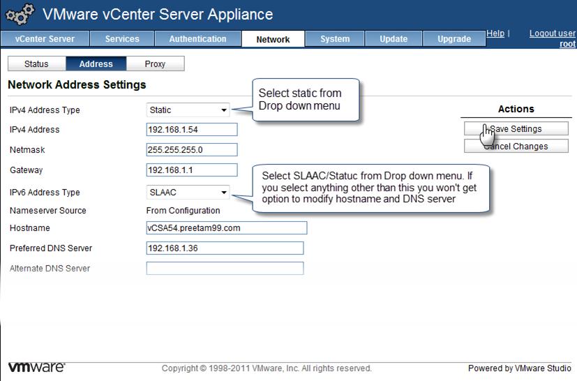 Configure Network Settings for the VMware vCenter Server Appliance