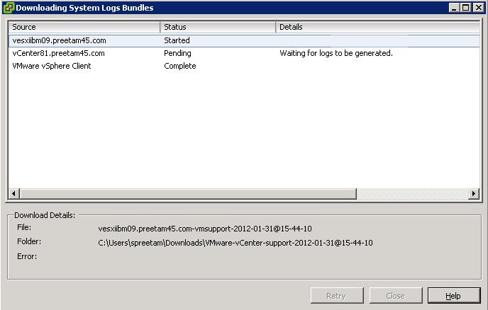 Export System Log Files – VMware, Windows, Virtualization
