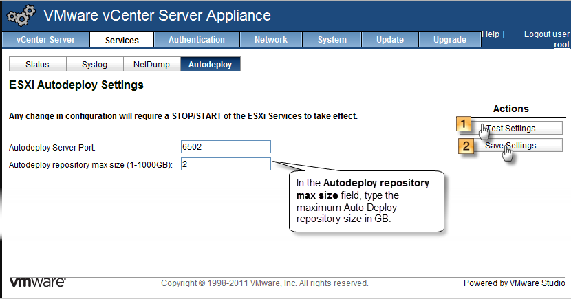 Configure ESXi Auto Deploy Settings on the VMware vCenter Server