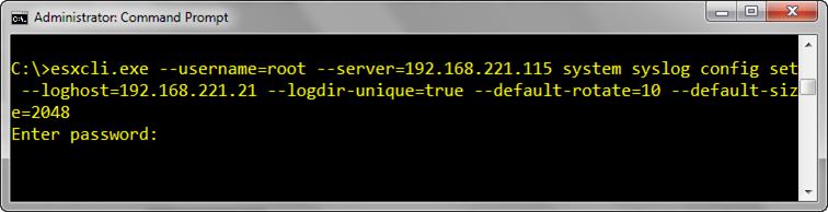 Configure syslog server & NTP on ESXi host using command