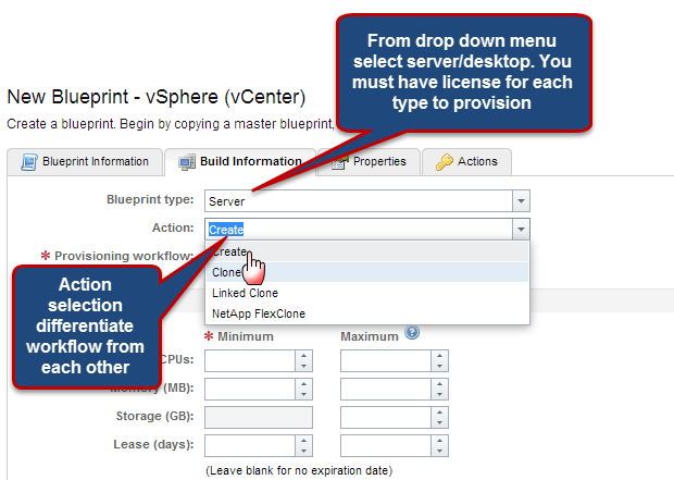 Blueprints all about cloud ecosystem based on vmware next piece is action for basic workflow select create from the drop down menu next label provisioning workflow automatically gets populated with list from malvernweather Image collections